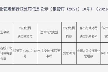 京东子公司网银在线被罚3万元只因未按规定办理变更事项